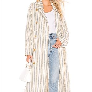NEW Free People Trench Coat Striped Size Medium
